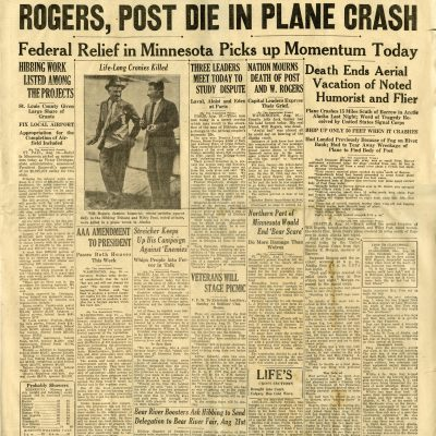 "The Hibbing Daily Tribune ""Rogers, Post Die in Plane Crash"""