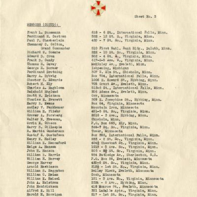 List of Members of Eveleth Commandary No. 35, Knights Templar (Page 3)