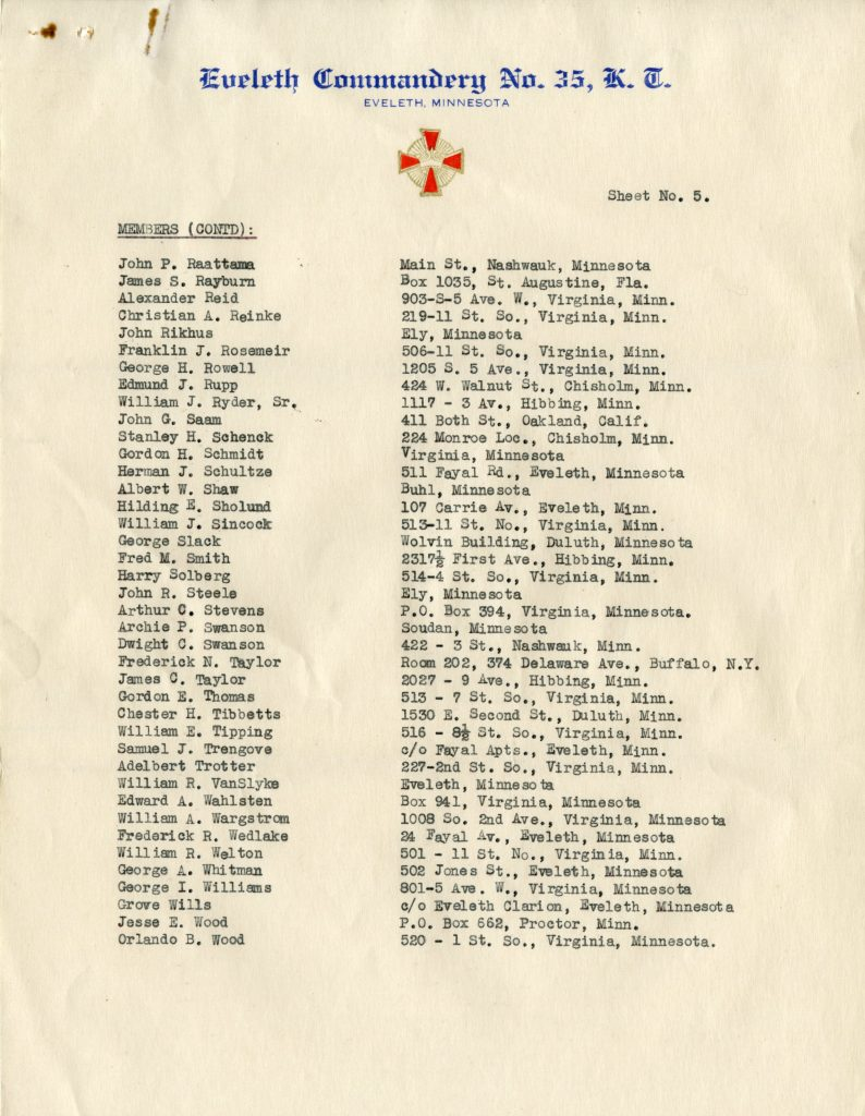 List of Members of Eveleth Commandary No. 35, Knights Templar (Page 5)