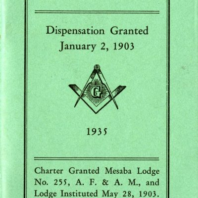 Roster of Officers and Members Booklet, Mesaba Lodge No. 255, A.F. & A.M.
