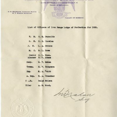 List of Officers of Iron Range Lodge of Perfection 1935